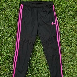 Adidas Black and Pink Track Pants